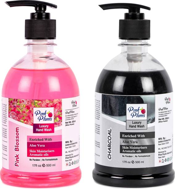 PINK PLUMS Germ Protection Pink Blossom and Charcoal Liquid Handwash Enriched with Aloe Vera Skin Moisturisers, COMBO Pack of 2, Each 500ml Hand Wash Pump Dispenser