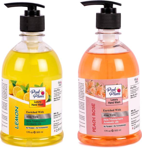 PINK PLUMS Germ Protection Lemon and Peach Rose Liquid Handwash Enriched with Aloe Vera Skin Moisturisers, COMBO Pack of 2, Each 500ml Hand Wash Pump Dispenser