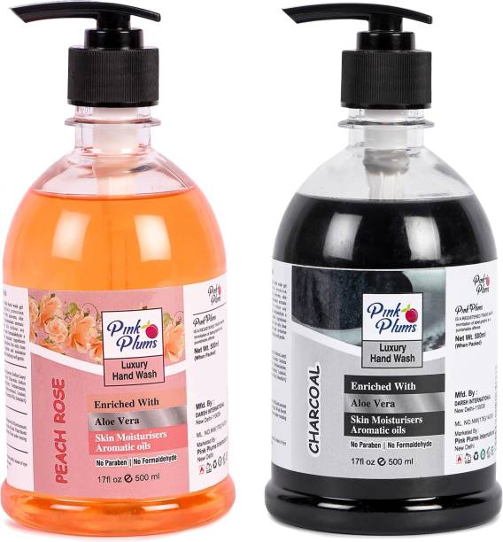 PINK PLUMS Germ Protection Pe ch Rose nd Ch rco l Liquid H ndw sh Enriched with Aloe Ver Skin Moisturisers, COMBO P ck of 2, E ch 500ml Hand Wash Pump Dispenser