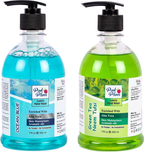PINK PLUMS Germ Protection Ocean Blue and Neem Tulsi Liquid Handwash Enriched with Aloe Vera Skin Moisturisers, COMBO Pack of 2, Each 500ml Hand Wash Pump Dispenser