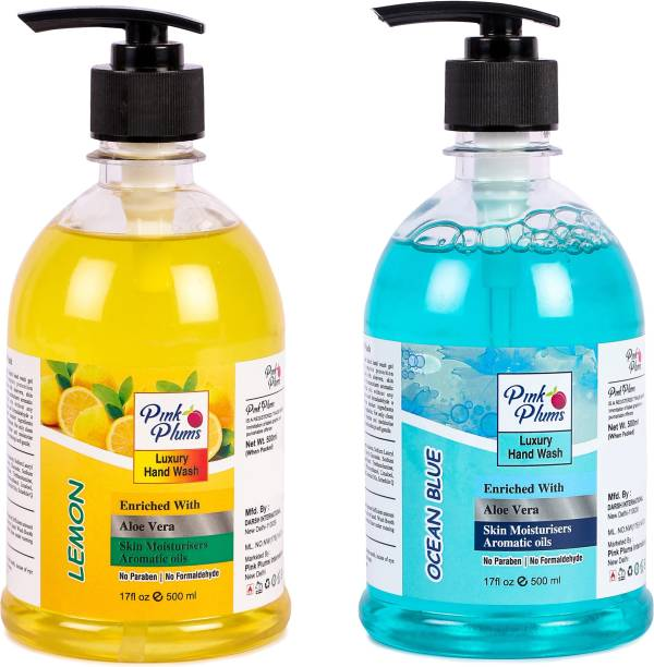 PINK PLUMS Germ Protection Lemon and Ocean Blue Liquid Handwash Enriched with Aloe Vera Skin Moisturisers, COMBO Pack of 2, Each 500ml Hand Wash Pump Dispenser