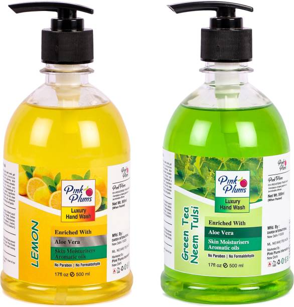PINK PLUMS Germ Protection Lemon and Neem Tulsi Liquid Handwash Enriched with Aloe Vera Skin Moisturisers, COMBO Pack of 2, Each 500ml Hand Wash Pump Dispenser