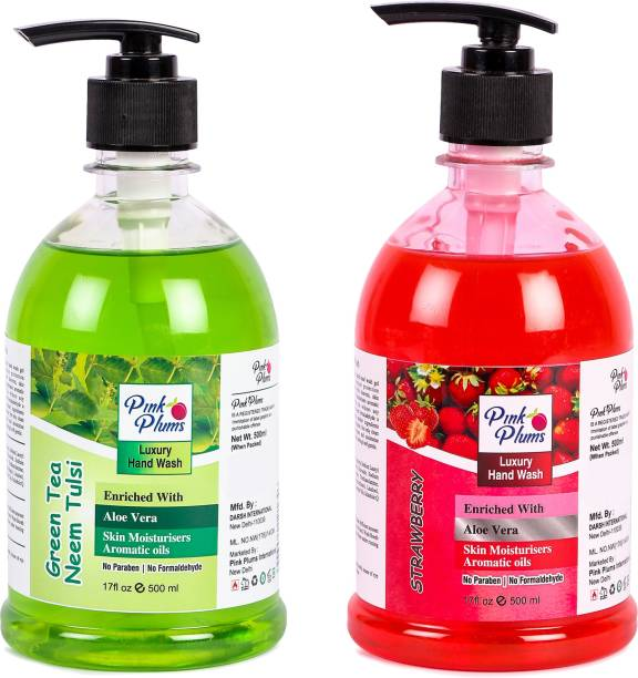 PINK PLUMS Germ Protection Neem Tulsi and Strawberry Liquid Handwash Enriched with Aloe Vera Skin Moisturisers, COMBO Pack of 2, Each 500ml Hand Wash Pump Dispenser