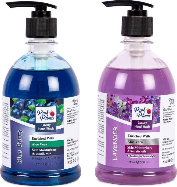 PINK PLUMS Germ Protection Blueberry nd L vender Liquid H ndw sh Enriched with Aloe Ver Skin Moisturisers, COMBO P ck of 2, E ch 500ml Hand Wash Pump Dispenser