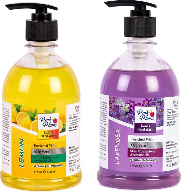 PINK PLUMS Germ Protection Lemon and Lavender Liquid Handwash Enriched with Aloe Vera Skin Moisturisers, COMBO Pack of 2, Each 500ml Hand Wash Pump Dispenser