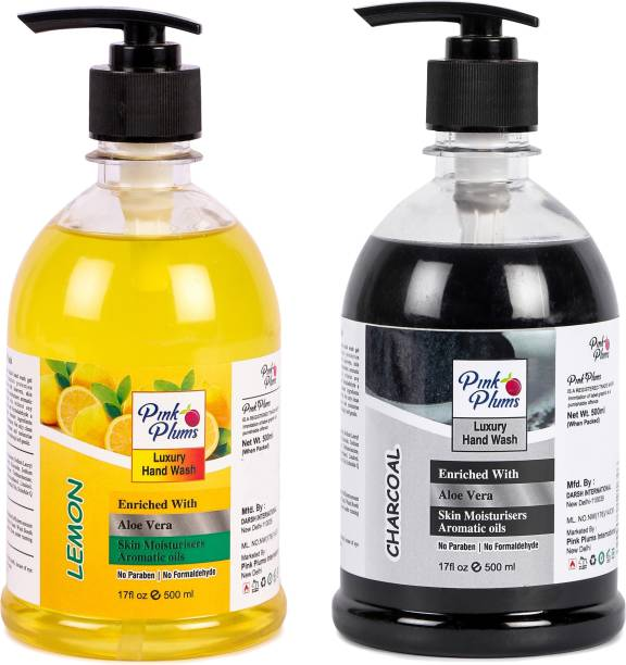 PINK PLUMS Germ Protection Lemon and Charcoal Liquid Handwash Enriched with Aloe Vera Skin Moisturisers, COMBO Pack of 2, Each 500ml Hand Wash Pump Dispenser