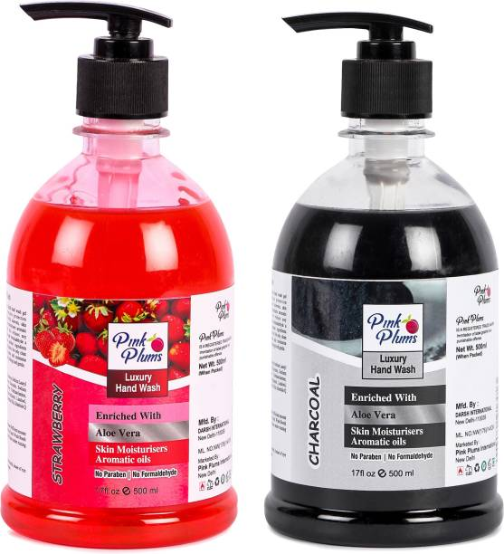 PINK PLUMS Germ Protection Str wberry nd Ch rco l Liquid H ndw sh Enriched with Aloe Ver Skin Moisturisers, COMBO P ck of 2, E ch 500ml Hand Wash Pump Dispenser