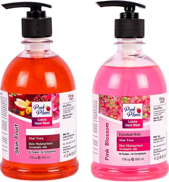 PINK PLUMS Germ Protection Skin Fruit and Pink Blossom Liquid Handwash Enriched with Aloe Vera Skin Moisturisers, COMBO Pack of 2, Each 500ml Hand Wash Pump Dispenser