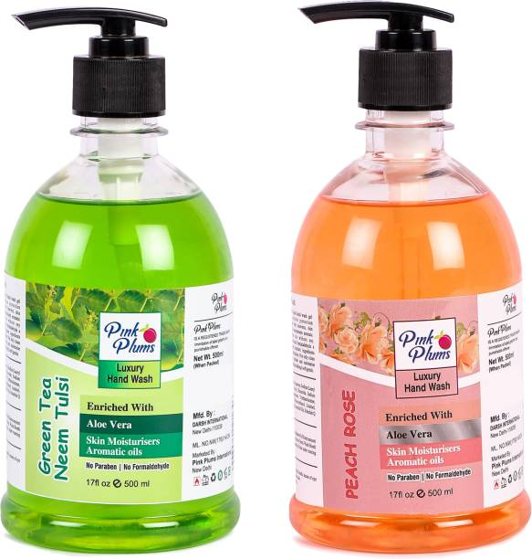 PINK PLUMS Germ Protection Neem Tulsi and Peach Rose Liquid Handwash Enriched with Aloe Vera Skin Moisturisers, COMBO Pack of 2, Each 500ml Hand Wash Pump Dispenser
