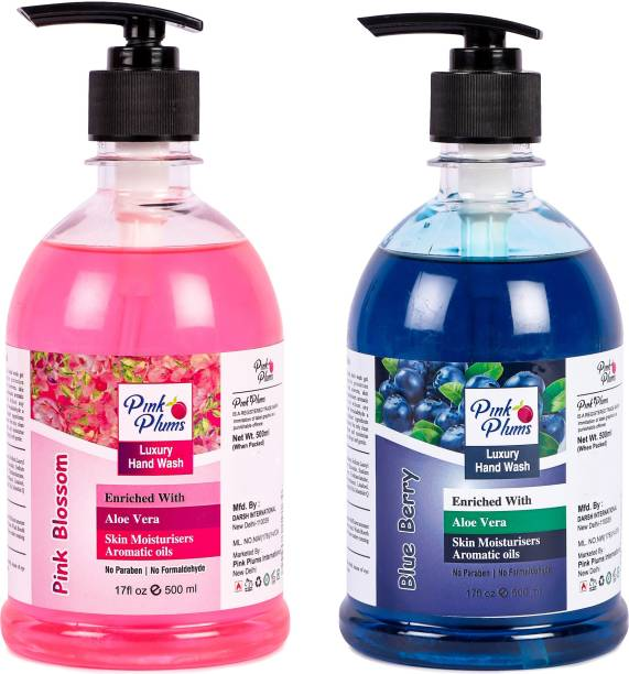 PINK PLUMS Germ Protection Pink Blossom and Blueberry Liquid Handwash Enriched with Aloe Vera Skin Moisturisers, COMBO Pack of 2, Each 500ml Hand Wash Pump Dispenser