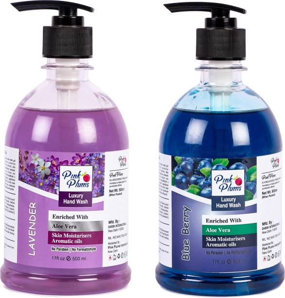 PINK PLUMS Germ Protection Lavender and Blueberry Liquid Handwash Enriched with Aloe Vera Skin Moisturisers, COMBO Pack of 2, Each 500ml Hand Wash Pump Dispenser