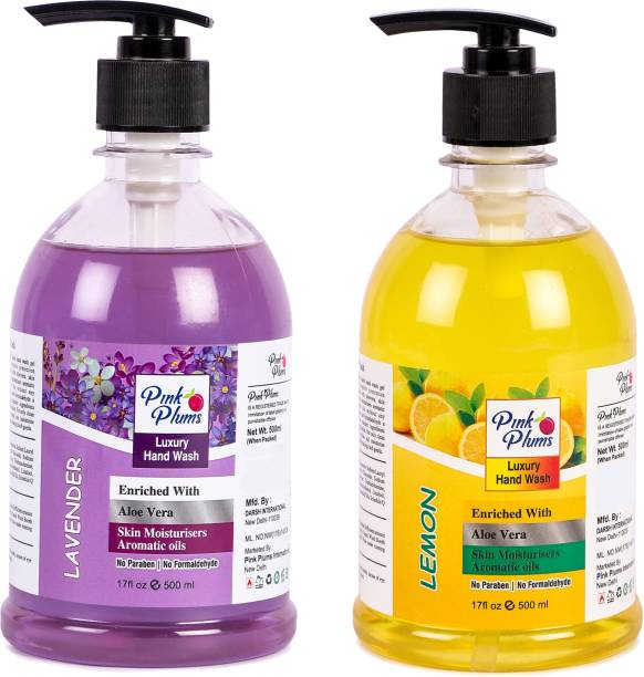 PINK PLUMS Germ Protection Lavender and Lemon Liquid Handwash Enriched with Aloe Vera Skin Moisturisers, COMBO Pack of 2, Each 500ml Hand Wash Pump Dispenser