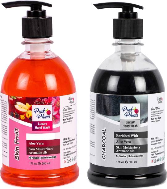 PINK PLUMS Germ Protection Skin Fruit and Charcoal Liquid Handwash Enriched with Aloe Vera Skin Moisturisers, COMBO Pack of 2, Each 500ml Hand Wash Pump Dispenser
