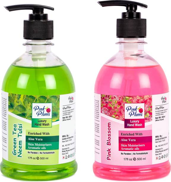 PINK PLUMS Germ Protection Neem Tulsi nd Pink Blossom Liquid H ndw sh Enriched with Aloe Ver Skin Moisturisers, COMBO P ck of 2, E ch 500ml Hand Wash Pump Dispenser