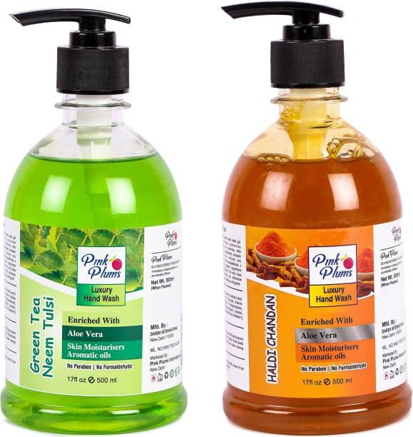 PINK PLUMS Germ Protection Neem Tulsi and Haldi Chandan Liquid Handwash Enriched with Aloe Vera Skin Moisturisers, COMBO Pack of 2, Each 500ml Hand Wash Pump Dispenser