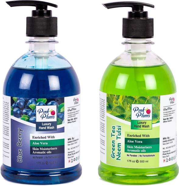 PINK PLUMS Germ Protection Blueberry and Neem Tulsi Liquid Handwash Enriched with Aloe Vera Skin Moisturisers, COMBO Pack of 2, Each 500ml Hand Wash Pump Dispenser