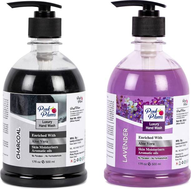 PINK PLUMS Germ Protection Charcoal and Lavender Liquid Handwash Enriched with Aloe Vera Skin Moisturisers, COMBO Pack of 2, Each 500ml Hand Wash Pump Dispenser