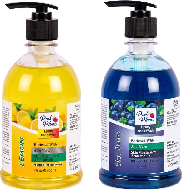 PINK PLUMS Germ Protection Lemon and Blueberry Liquid Handwash Enriched with Aloe Vera Skin Moisturisers, COMBO Pack of 2, Each 500ml Hand Wash Pump Dispenser