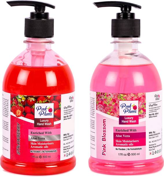 PINK PLUMS Germ Protection Strawberry and Pink Blossom Liquid Handwash Enriched with Aloe Vera Skin Moisturisers, COMBO Pack of 2, Each 500ml Hand Wash Pump Dispenser