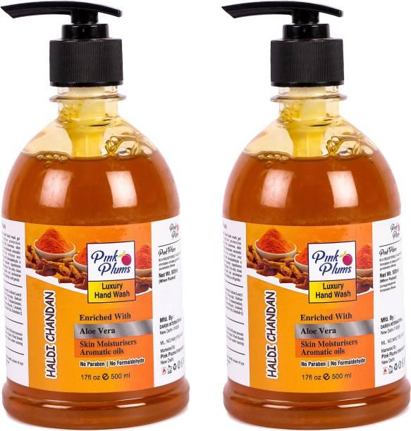 PINK PLUMS Germ Protection Haldi Chandan Liquid Handwash Enriched with Aloe Vera Skin Moisturisers, COMBO Pack of 2, Each 500ml Hand Wash Pump Dispenser
