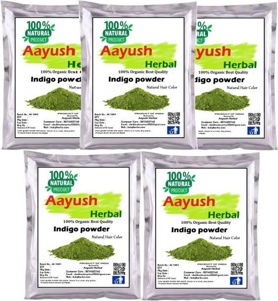 Aayush herbal 100% Natural Organic Indigo Leaf Powder for Hair Colour (50gX5) PACK 5
