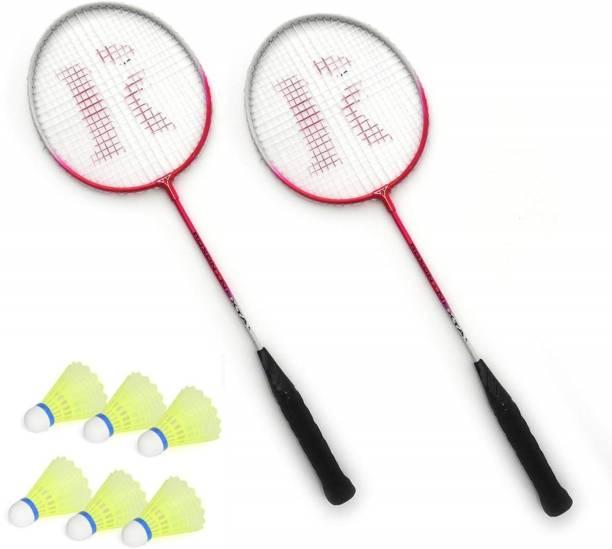 AS Badminton Set Of 2 Piece Single Rod Racquet with 6 Piece Plastic Shuttle Badminton Kit