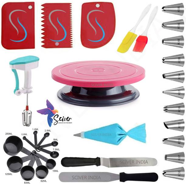 SCIVER X-326 All In One Bakeware Cake Combo Tools Cake Baking and making Tools Combo For Cake Decoration At Home, Kitchen And Store Kitchen Tool Set Cake Tools Round Easy Rotate Turntable + 12 Piece Piping Bag Nozzles Cake Decorating Tool Set Frosting Icing Cream Syringe Piping Bag Tips With Steel Nozzles Muffin Dessert Decorators Reusable & Washable Kitchen Tool Set + Multipurpose Heat Resistant Baking Oil Cooking Silicone Spatula and Pastry Brush Set For Cooking + 3 Pcs and Set Scraper Dough Fondant Scraper, Icing Smoother, Baking Supplies Baking CombO + 8-Pc Black color Measuring Cups (240 ml, 120 ml, 60 ml, 30 ml, 10 ml, 5 ml, 2.5 ml, 1.2 ml) +Easy to Handle Ergonomic Handle Designed To Be More Comfortable In Your Hand(Set Of 3 Spatula Knife Set) + Powerfree singal hand blender Server Set Popular Combo 7 in 1 BAKING TOOLS SET Multicolor Kitchen Tool Set (Multicolor). Multicolor Kitchen Tool Set