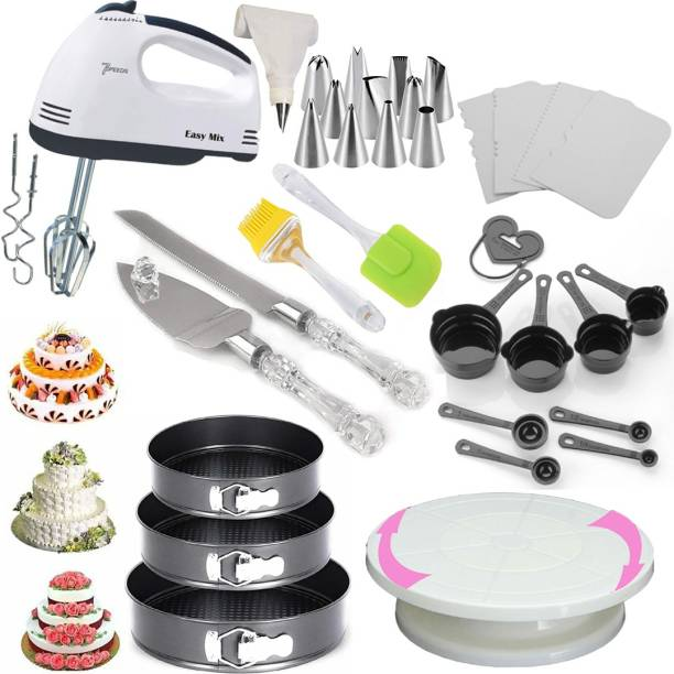Unique Impex Cake Making Tools Combo 8 in 1 All In One Cake Making Tools Combo 8 in 1 - 3 Pc Round Shape Cake Moulds + Cake Turn Table Stand + 8 Pcs Measuring Cups And Spoon + Silicone Spatula and Brush Set + 4 Pcs Scraper + 12 Piece Cake Decorating Set Piping Bag + Electric Hand biter + Stainless Steel Cake Knife and Server Set with Acrylic Handle (All Product Reusable & Washable) Multicolor Kitchen Tool Set