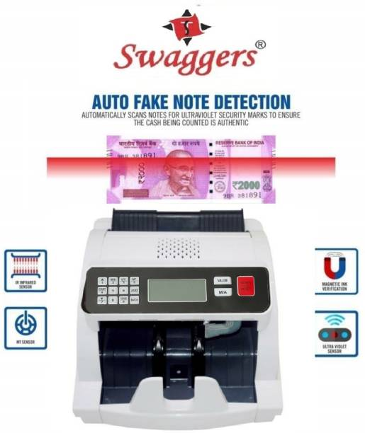 SWAGGERS Cash/Money/Note Counting Machine with MG, UV, IR Fake Note Detection and LCD Display Updated for All New and Old Currency-10,20,50,100,200,500,2000 Note Counting Machine