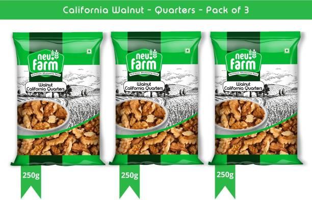Neu.Farm Walnut/Akharot - Kernels - California - Quarters - 4 Pieces - Premium Quality (3 x 250g) Walnuts