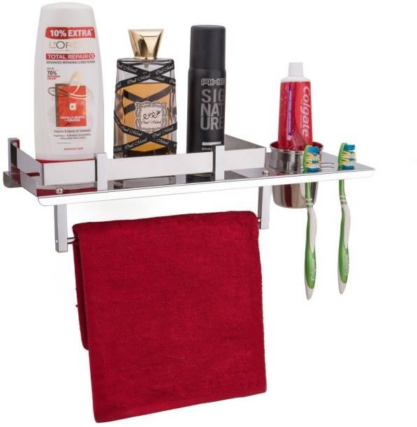 Flipkart SmartBuy Stainless Steel 3 in 1 Multipurpose Bathroom Shelf/Towel Hanger/Bathroom Rack With Towel Rod/Tumbler Holder/Toothbrush Toothpaste Holder/Bathroom Accessories (15 x 5 Inches) Steel Wall Shelf