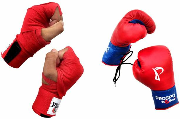 PROSPO Boxing Gloves with Laces and with Velcro,Glove and Handwrap Combo Size 8oz Boxing Gloves
