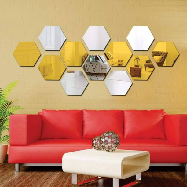 wall1ders Medium Hexagon 6 Silver 6 Golden (Each Piece Size 10.5 cm x 12.1 cm) thickness 1.5 mm premium quality, 3D Acrylic Mirror wall stickers, 3d acrylic sticker, 3d mirror sticker for home & offices. (Pack of 12)