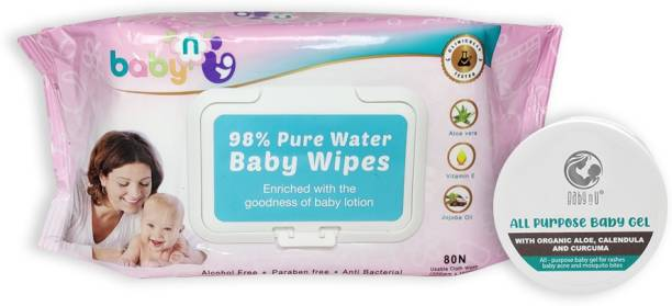 BabynU All Purpose Natural Baby Gel with Organic Aloe, Calendula and Curcuma |ph 5.5 Balanced (50 gms) and 98% Pure Water Baby Wipes (80 wet Baby Wipes)