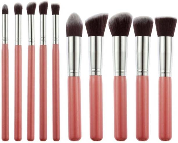 Ladista 10 Pieces Professional Makeup Brush Set Professional Foundation Blending Blush Eye Face Liquid Powder Cream Cosmetics Makeup Brushes Kit