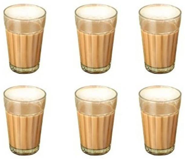 SiriusStar Pack of 6 Glass Cutting Tea Cup - Pack of 6 - 100 ML