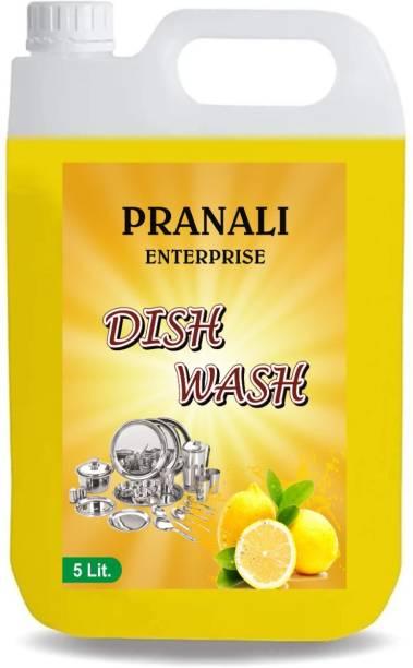 Pranali Enterprise 5 LTR Non Acidic lemon dish wash Liquid Detergent we care for your hands (5 ltr) Dish Cleaning Gel