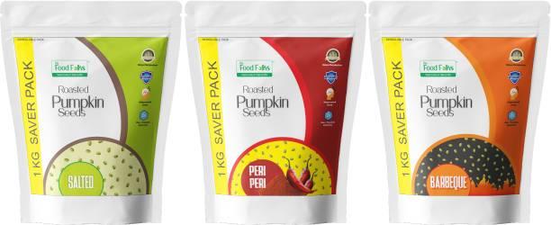 The Food Folks Pumpkin Seeds (Immunity Bonanza Combo Pack) (Salted, Peri Peri & Barbeque)