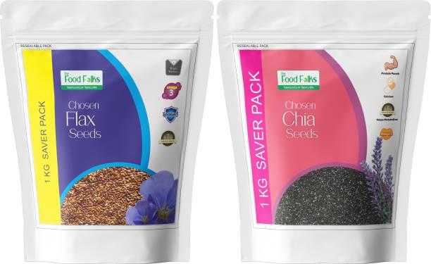 The Food Folks Omega 3 Bonanza Combo (Chia Seeds & Flax Seeds) 1Kg
