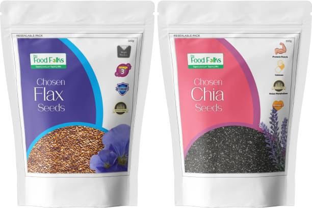 The Food Folks Omega 3 Pack Combo (Chia Seeds & Flax Seeds)