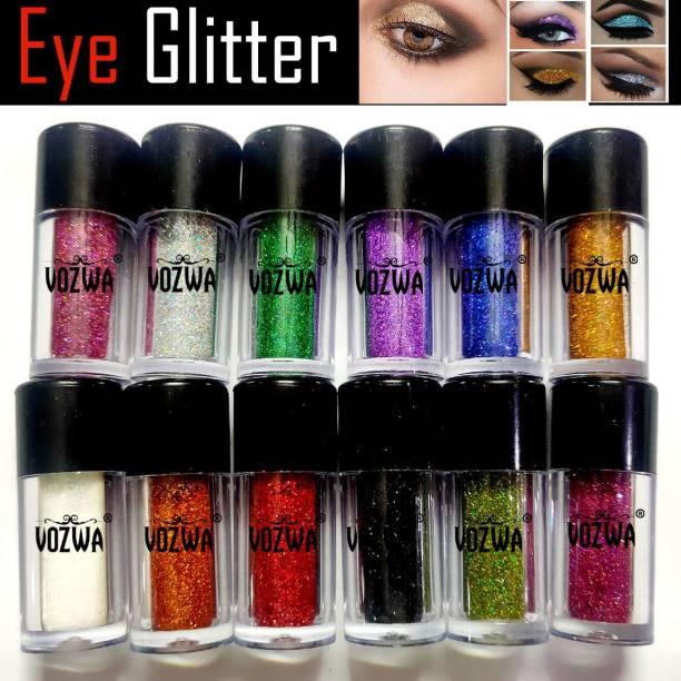 VOZWA Beautiful Eyeshadow Holographic Sparkle Glitter for Eyes + Body + Nails - 12 Pcs 24 g