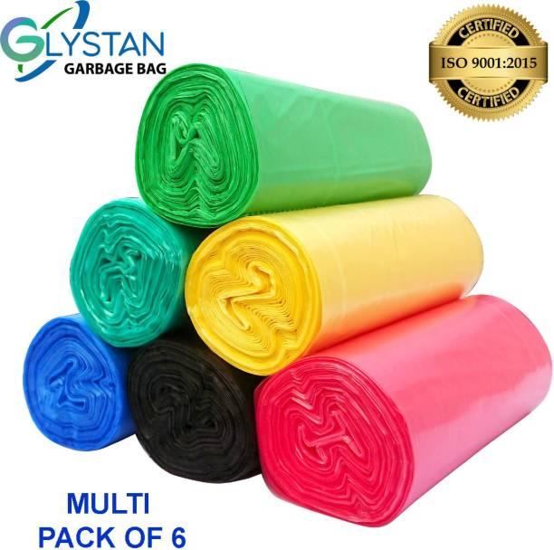 GLYSTAN Garbage bag Red,Green,Blue,Ocean green,Yellow,Black 19x21 pack of 6x30 (180 piece ) Medium 18 L Garbage Bag