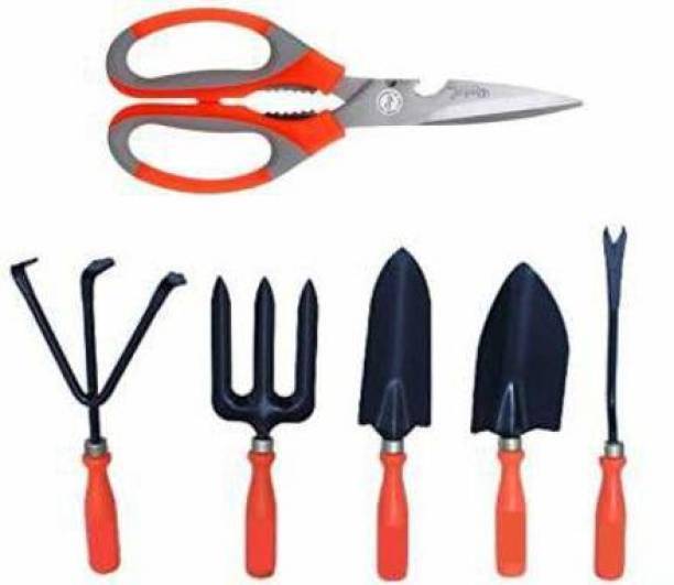 Plumcot Garden Tool Set Includes, Shovel, Trowel, Weeder, Cultivator, Fork With Scissor Garden Tool Kit