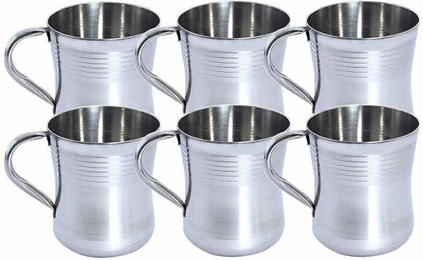 FINGERTIP (Pack of 6) Stainless Steel Damru Cup/Glassy/Mug for Coffee and Tea - Set of 6 Piece - 200 ml Each (Silver) (Made in India) Glass Set