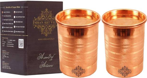 IndianArtVilla (Pack of 2) Copper Glass Tumbler Cup With Lid, Drinking Serving Water, Yoga Ayurveda, 300 ML, Set of 2 Glass Set