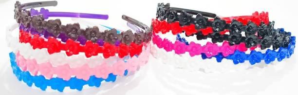 RosaStella Set Of 12 pcs Multi-colored Fashion Plastic Hair Bands Hair Comb Headband Shine Hairband Hair Accessory For Girls, Women Lady Hair Band