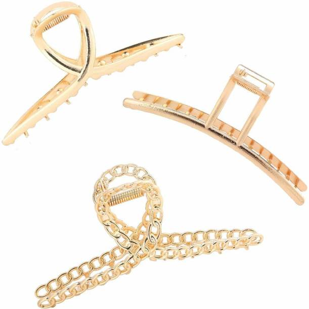 VAGHBHATT Large Gold Metal Multi Design Hair Claw Clips for Women, Hair Catch Banana Clips Hair Clips for Women Clamp Hair Accessories for Girls Women (Pack Of 2_4) Pack of 03 Hair Claw