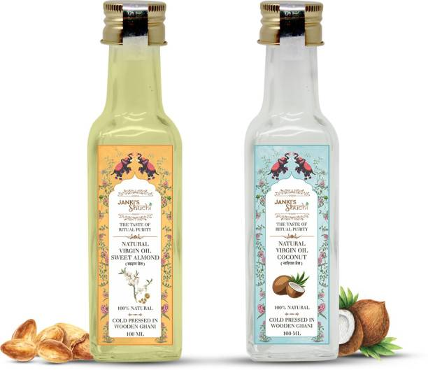 JANKI'S SHUCHI (100 % Natural Cold Pressed) Combo Pack of 2 Bottles Almond and Coconut Hair Oil