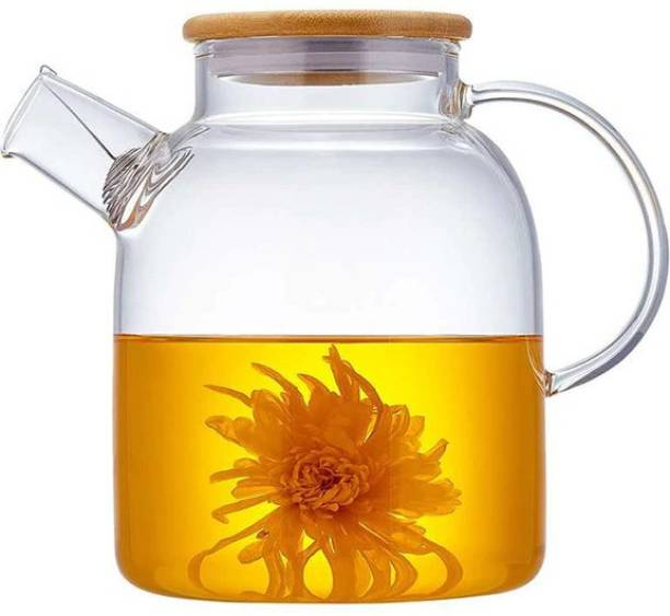 Green Apple 1.8 L Water GPH25 Borosilicate Glass Water Jug , Glass Water Kettle With Wooden Lid On Top 1.8 Litre Jug