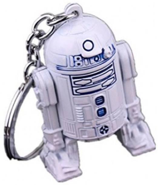RVM Toys Star Wars R2D2 Keychain 3D Shape Metal Robot Spaceship Design White Key Chain for Car Bike Men Women Keyring Key Chain